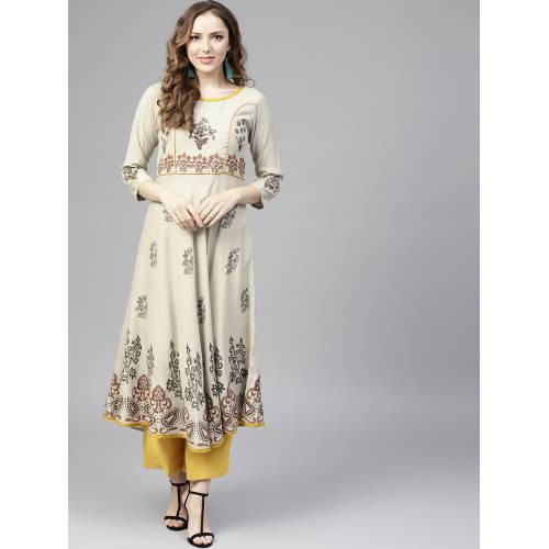 Beige Rayon Printed A Line Style Kurti