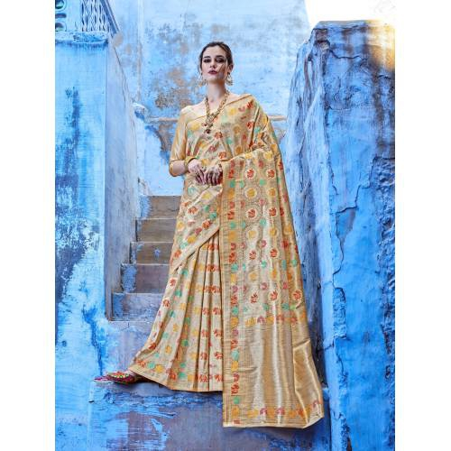 Craftsvilla Beige Silk Blend Woven Banarasi Saree With Unstitched Blouse Piece