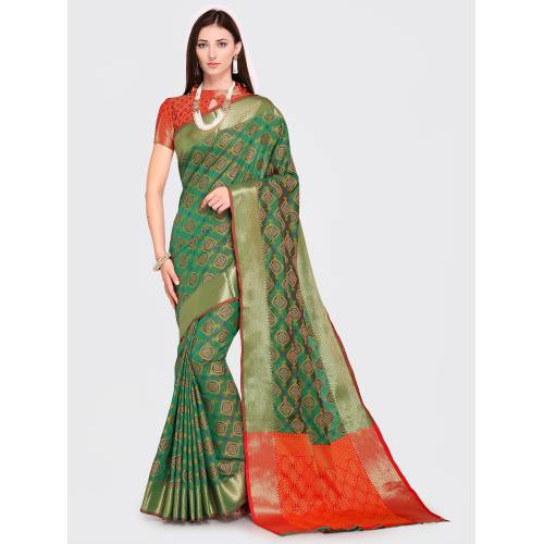 Craftsvilla Green Silk Blend Woven Traditional Patola Saree With Unstitched Blouse Material