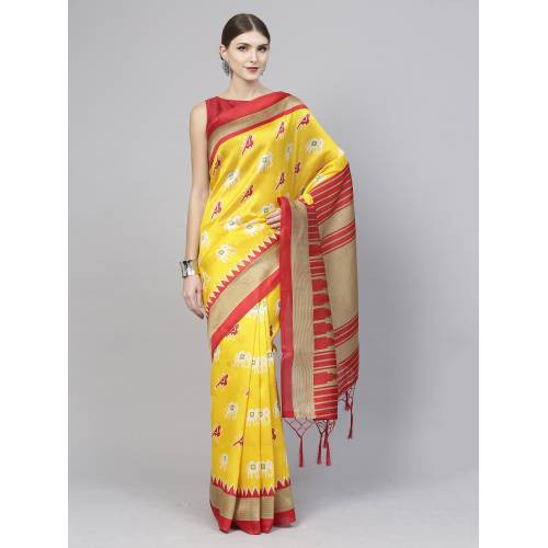 Craftsvilla Yellow Silk Blend Madhubani Printed Designer Saree With Unstitched Blouse Material