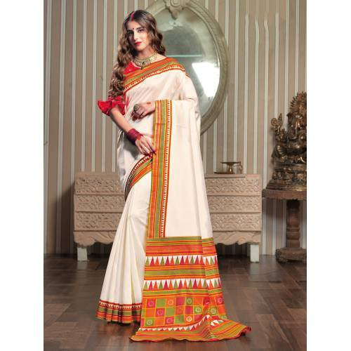 Craftsvilla Off White Silk Blend Woven Traditional Saree With Unstitched Blouse Material