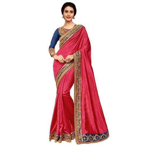 Craftsvilla Pink Silk  Embroidered Designer Party Wear Saree With Unstitched Blouse