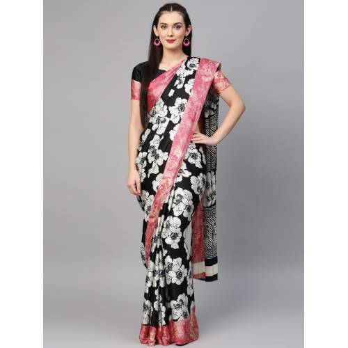 Craftsvilla Black Crepe Printed Party Wear Saree With Unstitched Blouse Material