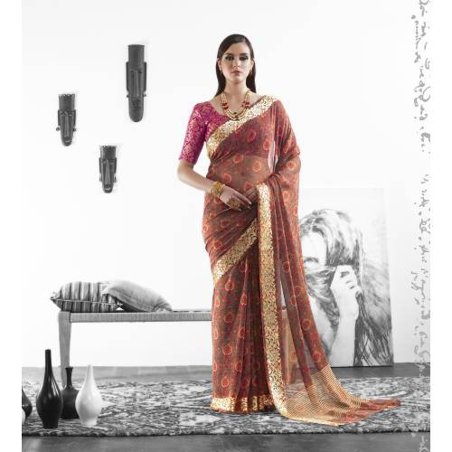 Craftsvilla Brown Color Georgette Printed Partywear Saree With Unstitched Blouse Material