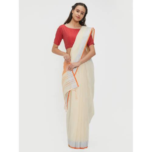 Craftsvilla Off White Poly Linen Woven Traditional Saree With Two Unstitched Blouse Material