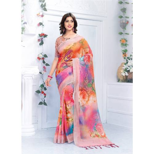 Craftsvilla Multicolor Linen Digital Printed Designer Saree With Unstitched Blouse Material