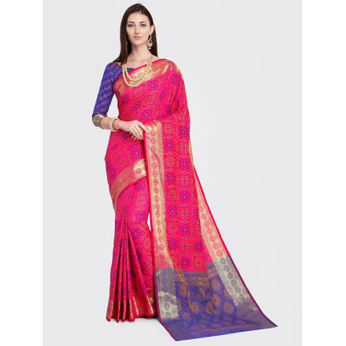 Craftsvilla Magenta Silk Blend Woven Traditional Patola Saree With Unstitched Blouse Material