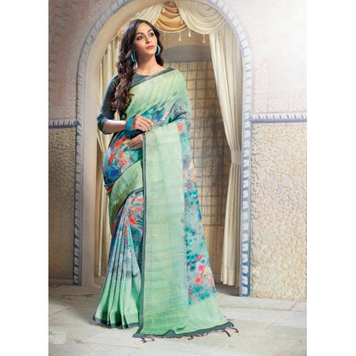 Craftsvilla Green Linen Blend Digital Printed Partywear Saree With Unstitched Blouse Material