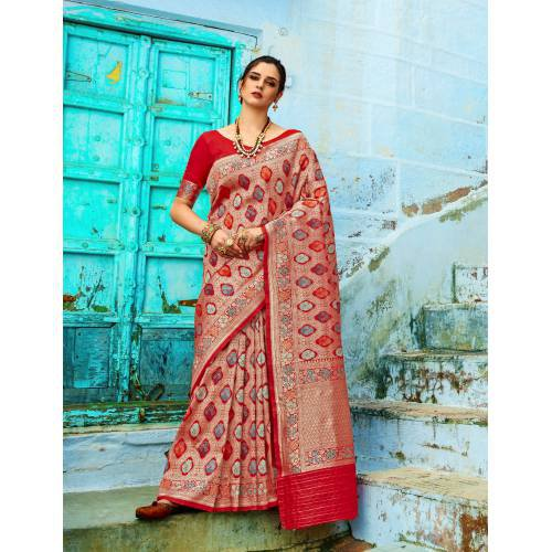 Craftsvilla Red Silk Blend Woven Banarasi Saree With Unstitched Blouse Piece