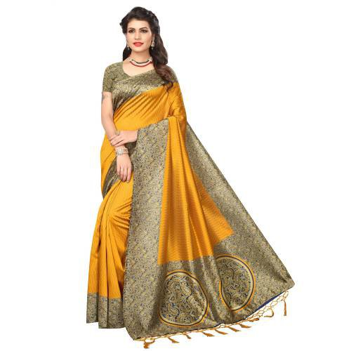 Craftsvilla Yellow Color Art Silk Solid Partywear Saree With Unstitched Blouse