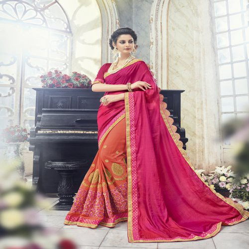 b24a2c11b0 Buy Craftsvilla Pink Color Faux Georgette Textured Designer Saree Online