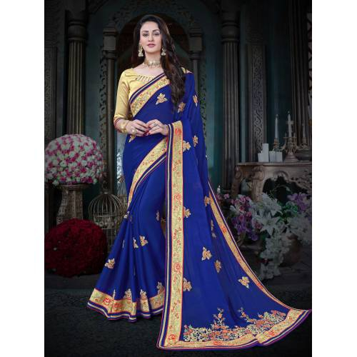 Craftsvilla Blue Color Georgette Embroidered Designer Saree With Unstitched Blouse Material