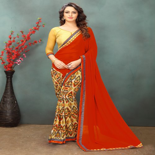 Craftsvilla Red & Beige Color Georgette Saree