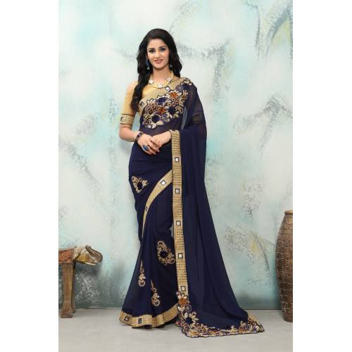 bb9888256a1 Buy Craftsvilla Navy Color Georgette Mirror Work Designer Saree Online