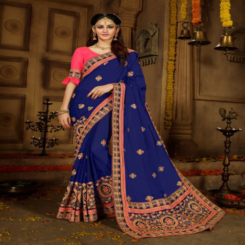 Craftsvilla Blue Georgette Resham Embroidered Traditional Saree With Unstitched Blouse Material