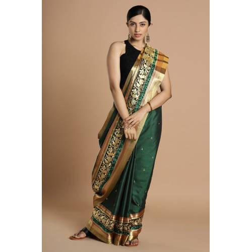 Craftsvilla Green Poly Cotton Saree With Double Embroidered Border And Unstitched Blouse Material.