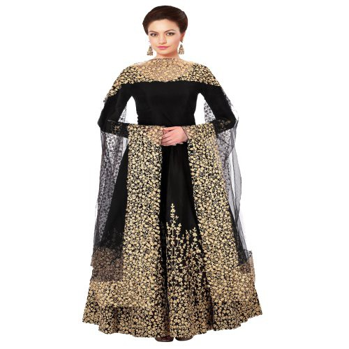 0fffdf7cc9c Buy Craftsvilla Black Color Designer Silk Embroidered Semi-stitched  Anarkali Suit Online