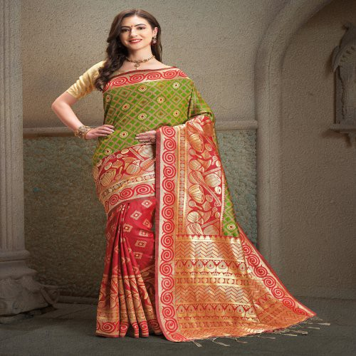 Craftsvilla Red Color Banarasi Silk Jacquard Self Designer Saree