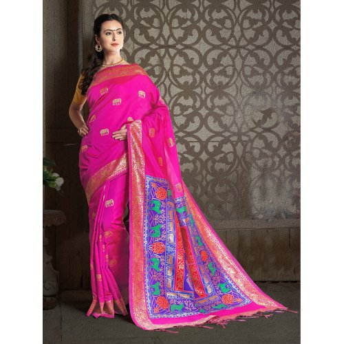 Craftsvilla Pink Color Banarasi Silk Jacquard Self Designer Saree