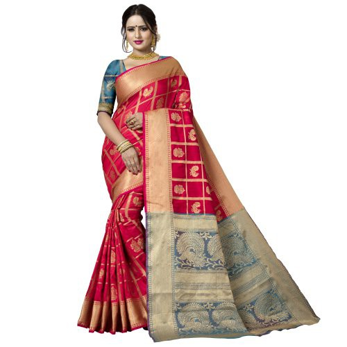 Craftsvilla Red Silk Blend Patola Designer Saree With Unstitched Blouse Material
