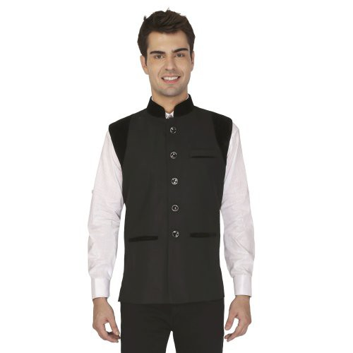 Craftsvilla Black Cotton Poly Nehru Jacket