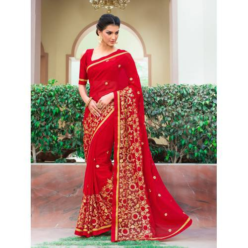 ac93b7456a32f Buy Craftsvilla Red Color Georgette Resham Embroidered Designer Saree With  Unstitched Blouse Material Online