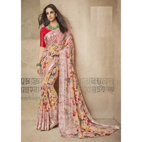 Craftsvilla Peach Linen Printed Designer Saree With Unstitched Blouse Material
