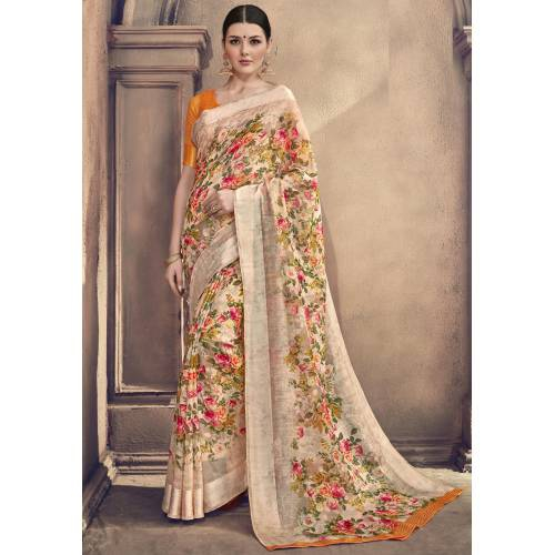 Craftsvilla Multicolor Linen Designer Floral Print Saree With Unstitched Blouse Piece