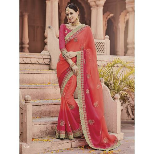Craftsvilla Pink Color Georgette Resham Embroidered Designer Saree With Unstitched Blouse Material