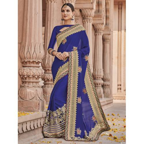 Craftsvilla Blue Color Georgette Resham Embroidered Designer Saree With Unstitched Blouse Material