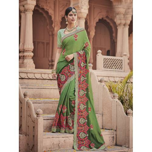 Craftsvilla Green Color Georgette Resham Embroidered Designer Saree With Unstitched Blouse Material