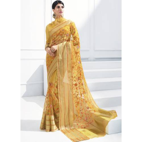 Craftsvilla Gold Georgette Resham Embroidered Partywear Saree With Unstitched Blouse Material