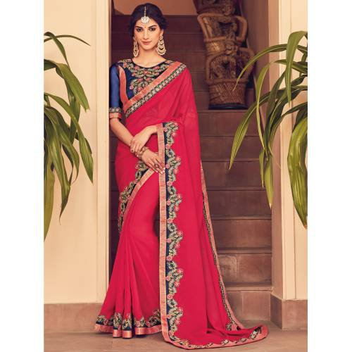 Craftsvilla Red Color Georgette Resham Embroiderd Designer Saree