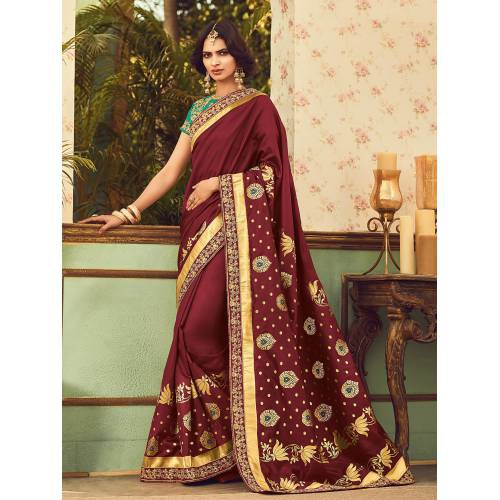 Craftsvilla Maroon Color Silk Resham Embroiderd Designer Saree