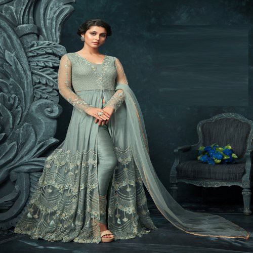 2ccc6749c0 Buy Craftsvilla Grey Net Embroidered Semi-stitched Anarkali Suit Online |  Craftsvilla