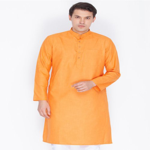 Craftsvilla Saffron Color Linen Long Sleeves Kurtas