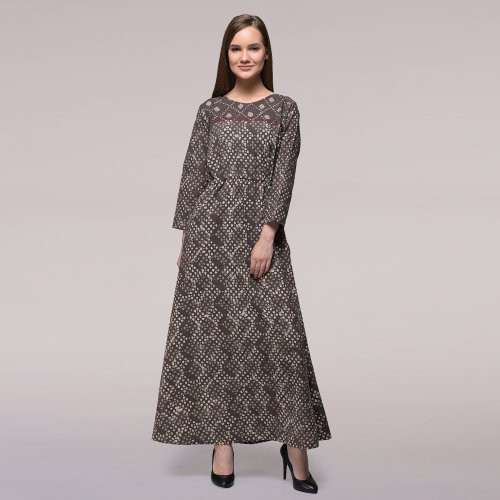 Miraasa Grey Color Block Printed Abstract Dress
