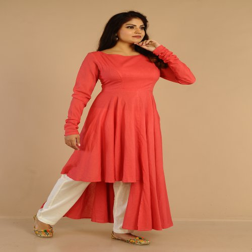 Miraasa Coral Pink Color Hand Crafted Designer Neck Dress