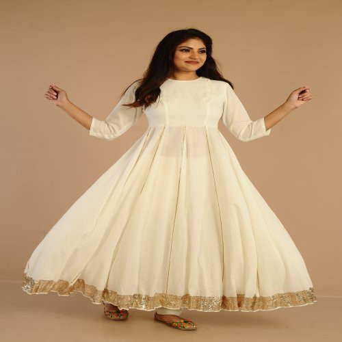 Miraasa Ivory Anarkali With Gotta Work