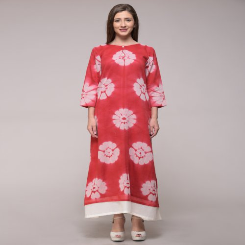 Miraasa Red Color Shibori Abstract Dress