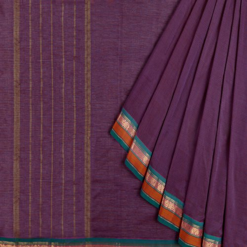 Miraasa Purple Handcrafted South Cotton Saree In All Over Design Pattern