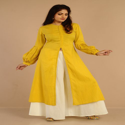 Miraasa Mustard Yellow Jacket Kurta With Back Tuck And Baloon Sleeve Paired With Cigrettes Pant