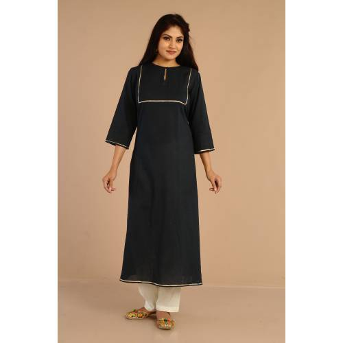 Miraasa Navy Blue A Cut Kurta With Gotta On Yoke And Paired With Cigrettes Pants