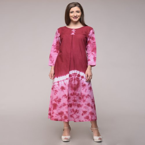 Miraasa Maroon Color Tie Dyed Abstract Dress