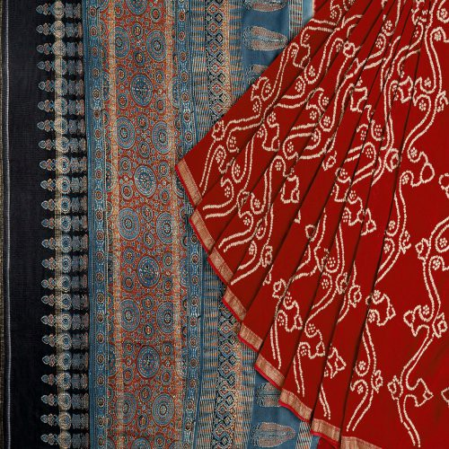 Miraasa Red Ajarak Bandani Maheshwari Saree In All Over Design Pattern