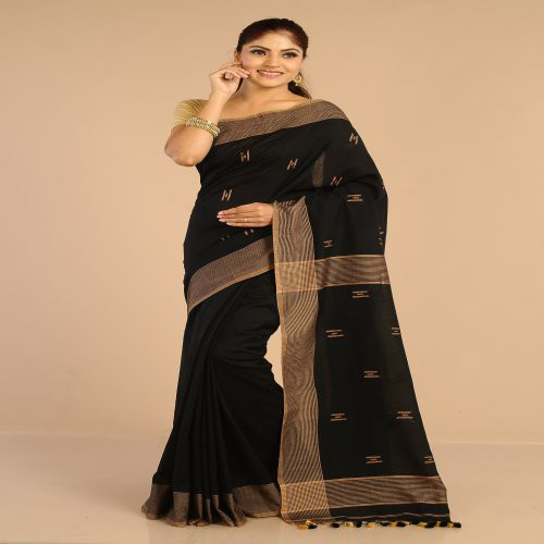 Miraasa Black Handwoven Cotton Saree In All Over Design Pattern