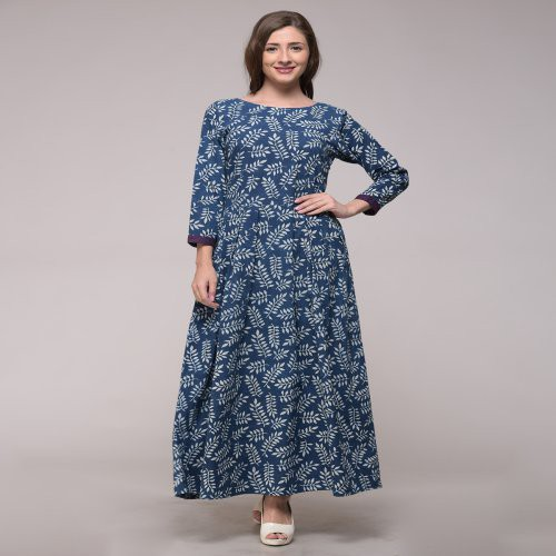Miraasa Blue Color Block Printed Floral Dress