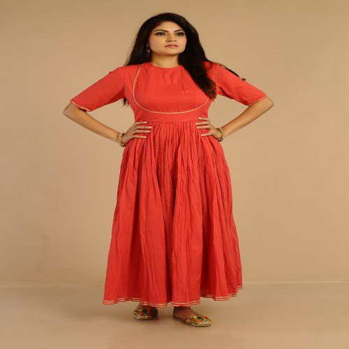 Miraasa Coral  Color Gota Work Designer Neck Dress