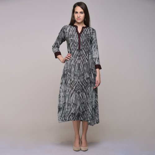 Miraasa Black Color Tie Dyed Abstract Dress
