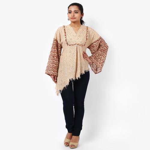 Miraasa Beige Block Printed Cotton Top